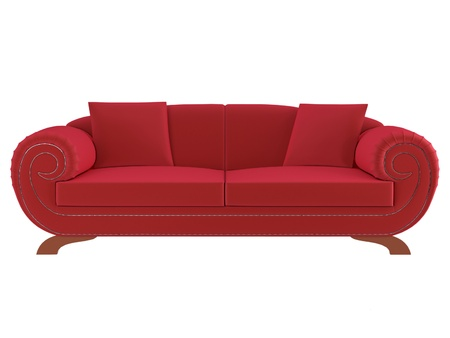 Classic red sofa isolated on white background, 3D illustrationrender illustration
