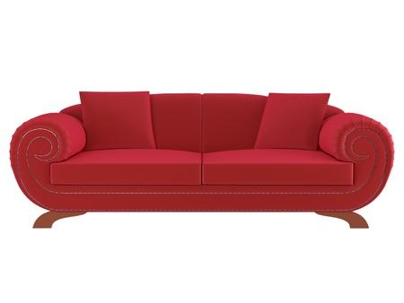 Classic red sofa isolated on white background, 3D illustrationrender illustration