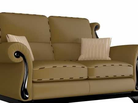 Classic brown sofa, isolated on white, 3D renderillustration illustration