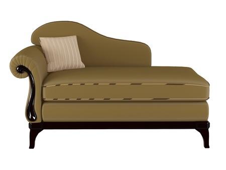 Classic brown sofa, isolated on white, 3D renderillustration illustration