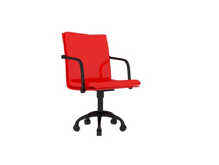 Red office armchair isolated on the white background, 3D illustrationrender illustration