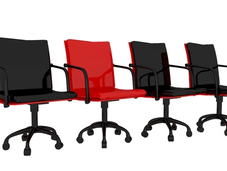 red chair: Office red and black armchairs  in a row, isolated on white, 3D renderillustration