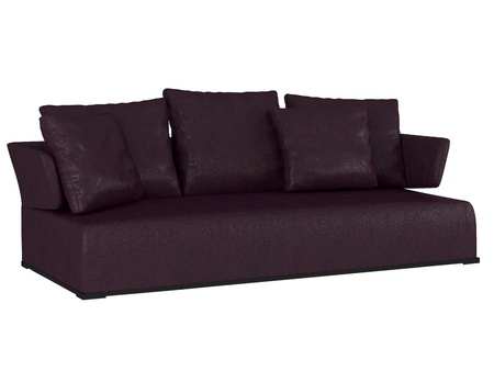 seater: Modern violet sofa isolated on white background, 3D illustrations Stock Photo