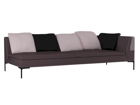 Modern violet sofa isolated on white background, 3D illustrations Stock Illustration - 14544519