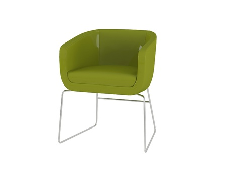 Green office armchair isolated on the white background, 3D illustrationrender illustration