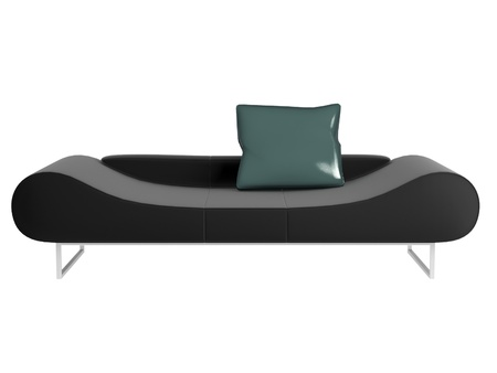 seater: Modern black sofa isolated on white background with green pillow, 3D illustrations