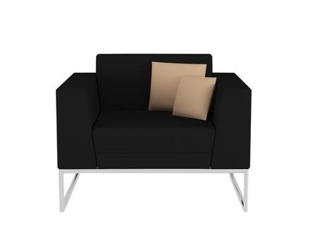 seater: Modern black sofa isolated, 3D renderillustration Stock Photo