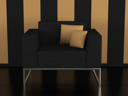 Modern black sofa indoor, modern interior, 3D render/illustration illustration