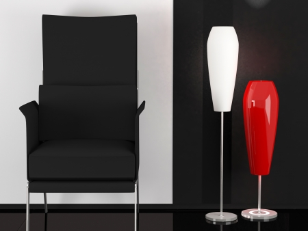 Modern armchair in the white and black room with two floor lamp, modern interior, similar composition available in my portfolio photo