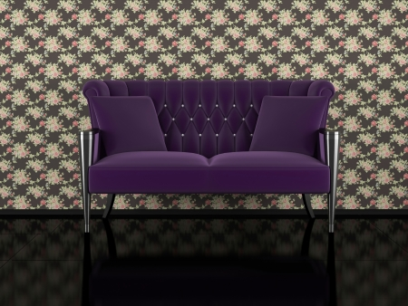 Classic violet sofa indoor, floral wall, black glossy floor, 3d render/illustration illustration