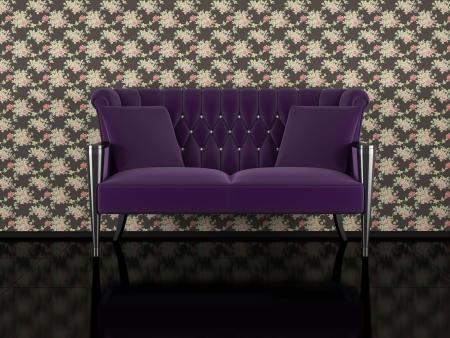 Classic violet sofa indoor, floral wall, black glossy floor, 3d renderillustration illustration
