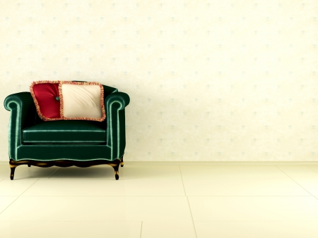 Classic green armchair with two pillow indoor, classic interior, 3d render/illustration illustration