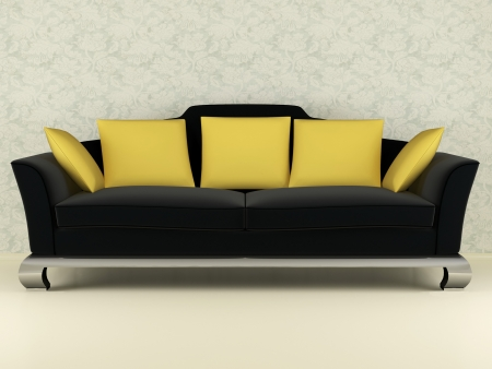 Modern black sofa with yellow pillows indoor, 3d render/illustration illustration