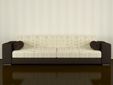 seater: Modern interior, brown sofa indoor, 3d renderillustratuion