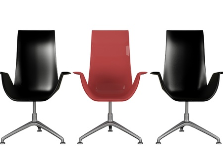 Three modern black and red office armchairs isolated on white, 3d renderillustration