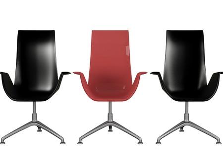 Três poltronas pretas e vermelhas modernas do escritório isolado no branco, 3d rende  ilustração Imagens