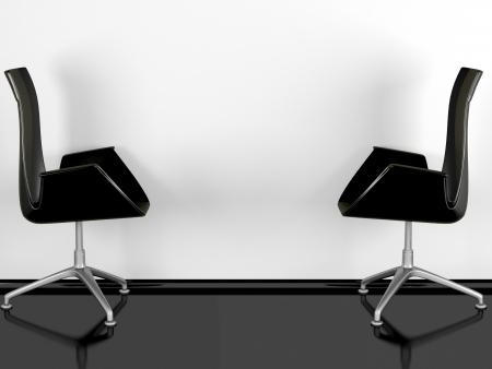 Bureau Noir Brillant : Deux fauteuils de bureau noir intérieur noir brillant plancher un