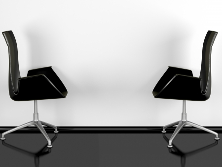 Two black office armchairs indoor, black glossy floor, white wall, 3d renderillustration illustration