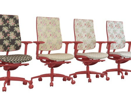Four floral red office armchairs isolated on white, 3d renderillustration