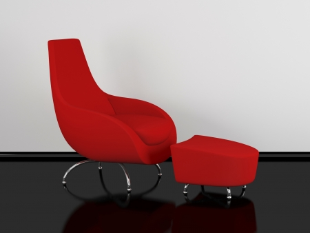 designer chair: Modern red armchair for relax indoor, 3d renderillustration