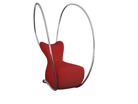 Modern red armchair for relax isolated on white, woman shape, 3d renderillustration illustration