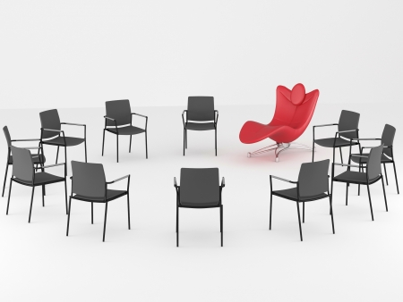 empty chair: Special red comfortable office armchair between ordinary seats, renderillustration Stock Photo