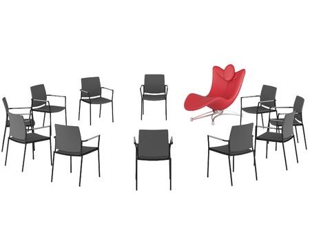 Speciale rode comfortabele kantoor fauteuil tussen gewone stoelen, staande in een cirkel, geïsoleerd, render  illustratie