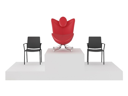 Special red comfortable office armchair between ordinary seats, renderillustration illustration