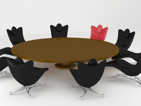 Conference room, round table, office armchairs, renderillustration illustration