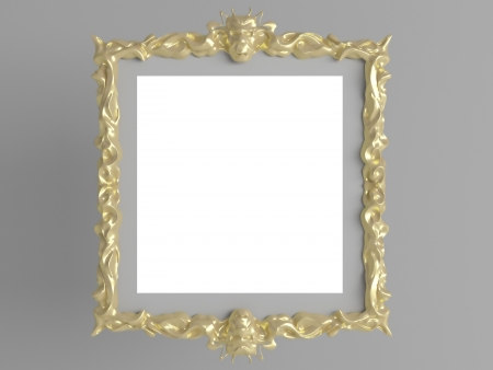 Decorative vintage gold empty wall picture frame insert your own design, isolated, renderillustration illustration