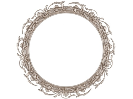 A decorative round picture frame isolated photo