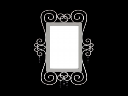 A decorative beautiful silver picture frame isolated for putting pictures photo