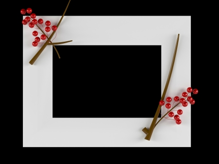 Empty white floral picture frame  isolated on black Stock Photo