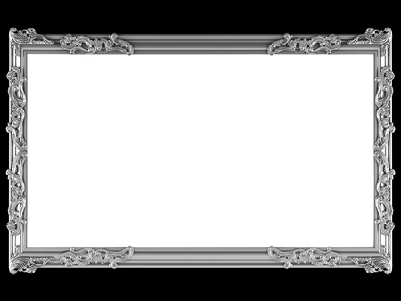 ornamented: Antique silver ornamented picture frame isolated on black
