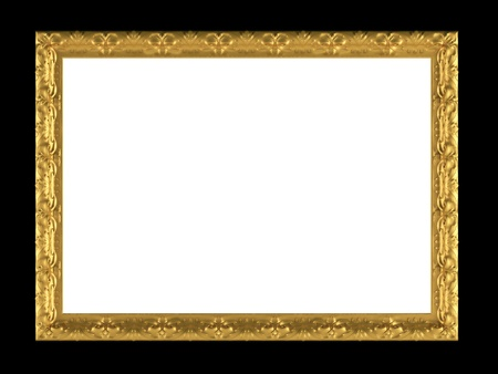 ornamented: Antique gold ornamented picture frame isolated on black, insert your own design