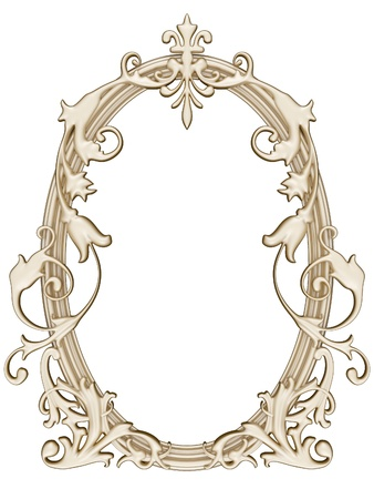 Antique gold ornamented picture round frame isolated Stock Photo