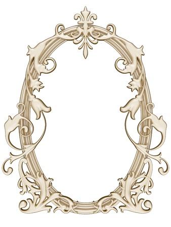 Antique ouro ornamentada moldura redonda isolado