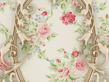 painting and decorating: Nice vintage composition, golden frame on a floral wall Stock Photo