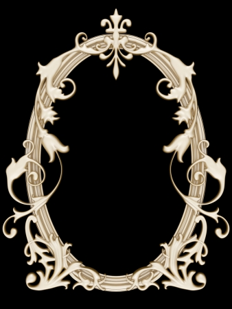 Antique gold ornamented picture round frame isolated on black photo
