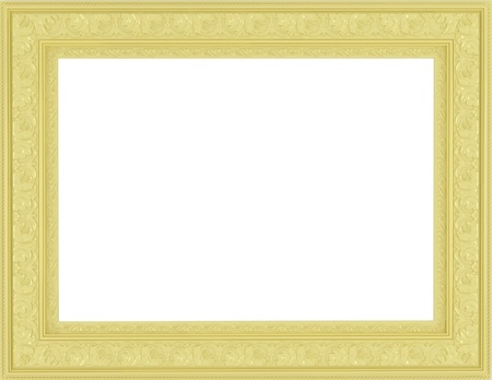 antique ornamented empty golden picture frame photo
