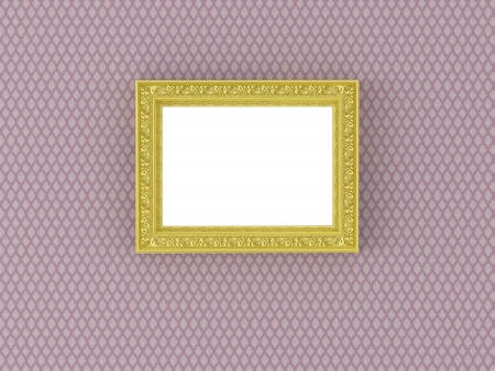 ornamented: Antique gold ornamented picture frame on the vintage floral wallpaper