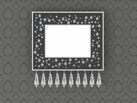 Elegance empty picture frame on the vintage floral wallpaper photo