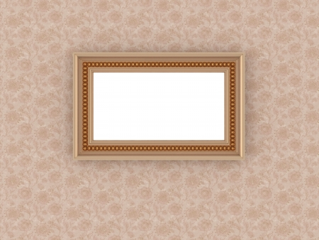 ornamented: Antique empty ornamented picture frame on the vintage floral wallpaper Stock Photo