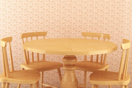 Lovely dining room, four chairs with round wooden table photo