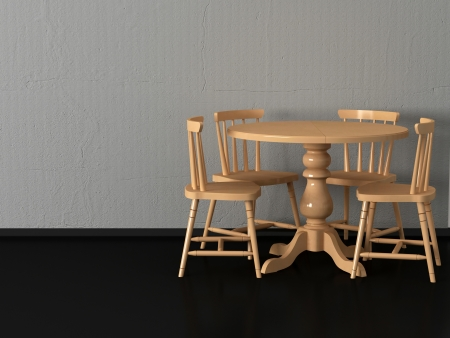 Modern dining room, round wooden table witn four chairs photo