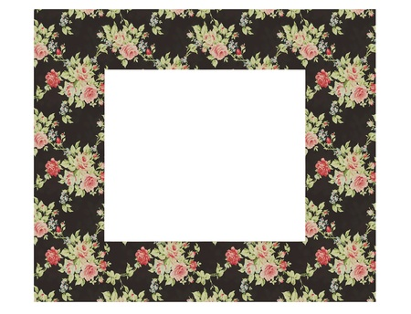 Floral vintage empty picture frame isolated on white, renderillustration illustration