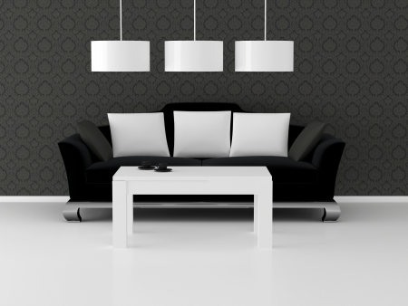 Design de interiores de eleganse sala de estar moderna, preto e branco