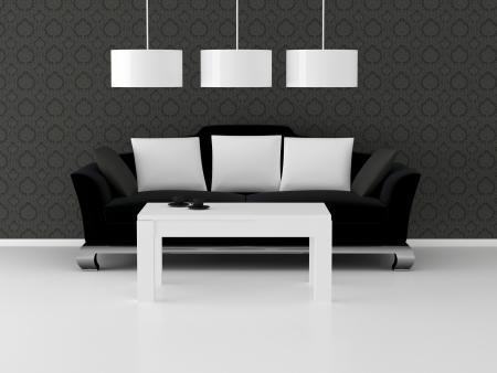Design interior of eleganse modern living room, black and white