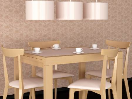Design interior of eleganse modern dining room, wooden dining table, rendering photo