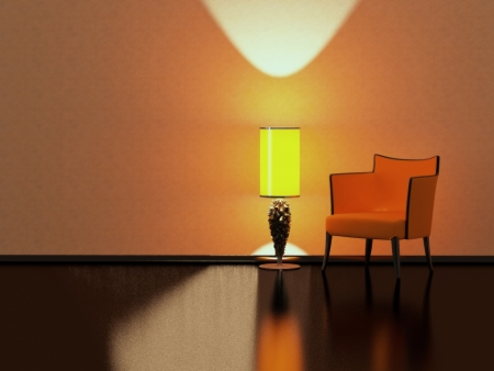 Modern interior design, red sofa yellow floor lamp in the empty black and red room, 3D render/illustration minimalism illustration